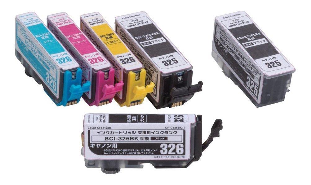 Color Creation キャノン BCI-325326互換 インクカートリッジ 5色パック 交換用325PGBKタンク CF-C326 3255 T1 [プリンター][消耗品]【YDKG-kd】【smtb-KD】[ゆうパケット発送、送料無料、代引不可]