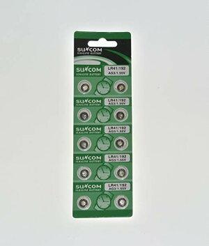 SUNCOM/サンコムLR41ボタン電池10個パック電卓や時計などに![メール便発送、送料無料、代引不可]【YDKG-kd】【smtb-KD】[訳有り電池]