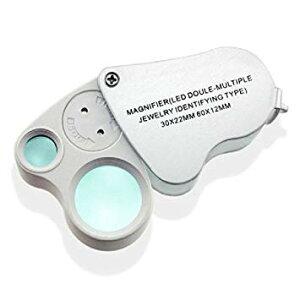 30倍 60倍 ジュエリールーペ 拡大鏡 LEDライト付 ポケット ルーペ 宝石鑑定 花 昆虫観察[定形外郵便、送料無料、代引不可]