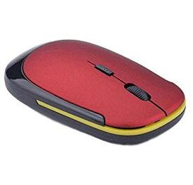 マウス 超薄型 軽量 ワイヤレスマウス USB 光学式 3ボタン 2.4G コンパクト マウス (レッド)[定形外郵便、送料無料、代引不可]