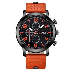 メンズ アナログクォーツウォッチ S1037 《ブラックベゼル オレンジレザーストラップ》 腕時計 おしゃれ シンプル【smtb-KD】[定形外郵便、送料無料、代引不可]