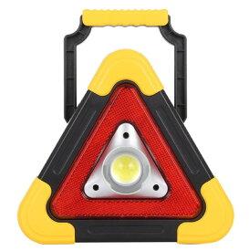 LEDランプ機能付 三角停止板 ソーラー&USB充電 コンパクト ライト 反射板 非常灯 警告灯 作業灯[送料無料(一部地域を除く)]
