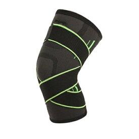 膝サポーター 巻きつけ式 《グリーン》 《Lサイズ》 強力 サポート 通気性 伸縮性 ひざサポーター[ゆうパケット発送、送料無料、代引不可]