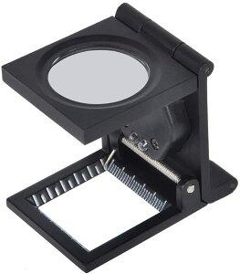 ポケットサイズ LEDライト搭載 折りたたみ式 拡大鏡 スタンドルーペ レンズ直径28mm 縞見ルーペ リネンテスター[定形外郵便、送料無料、代引不可]