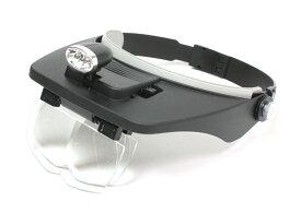 2灯LEDライト付き ヘッドルーペ 拡大鏡 メガネの上から 1.2倍 1.8倍 2.5倍 3.5倍 4枚レンズ付[送料無料(一部地域を除く)]