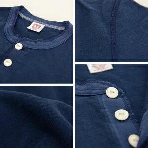 【BARNS】【バーンズ】丸胴ボディユニオンフラットシーマ縫製ヴィンテージヘンリーネックTシャツBR-8146