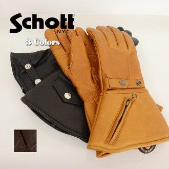 男子的Schott打击手套手套WINTER GLOVE LONG冬天手套长BLACK黑色3109056 fs3gm10P14Nov13
