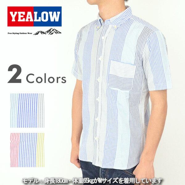 YEALOW イエロー 35238 ストライプ ボタンダウンシャツ 半袖 アメカジ メンズ 男性