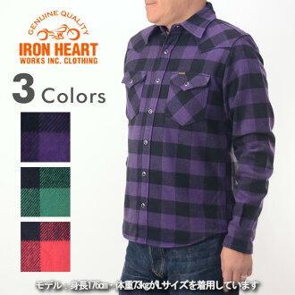 鐵了心鐵的心 IHSH-127 [a5w] 塊重量級法蘭絨西部襯衫