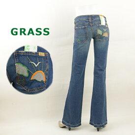 セール50%OFF 半額 GRASS grass グラス 29620 刺繍デザインポケットジーンズ ブーツカット ブレアー レディースジーンズ デニム 女性 ブランド レディースファッション ボトムス パンツ 40代 裾上げ 送料無料 GRASS grass グラス アメカジ デニムパンツ