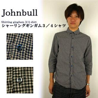 Johnbull約翰牛13245長袖子條紋布檢查襯衫