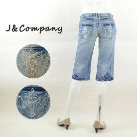 J&Company ジェイアンドカンパニー C1275H ダメージ加工ショートパンツ レディースジーンズ 半端丈【訳有り/在庫処分】
