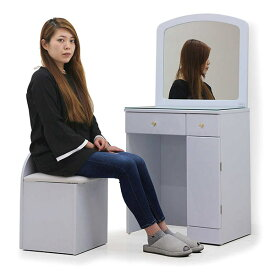 ドレッサー 鏡台 一面鏡 1面鏡 デスク 姫系 椅子付き 幅60cm 収納 収納力 化粧台 テーブル スツール付 選べる2色 ホワイト ゴージャス シンプル かわいい おしゃれ キラキラ 完成品 送料無料 楽天 通販