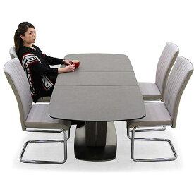セラミック ダイニングテーブルセット 伸長式 5点 4人掛け テーブル 140幅 180幅 伸縮式タイプ グレー 奥行き80cm カンティレバーチェア ハイバックチェア スタイリッシュ おしゃれ 長方形 強化ガラス 高級感 U字型 送料無料