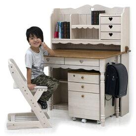 学習デスク チェア付き 4点セット 幅100cm 机 学習机 ホワイト 子供用 キッズ ワゴン キャスター付き 引き出し レール付き ハート 女の子 収納 シンプル モダン おしゃれ 子ども かわいい 小学生 木製 送料無料