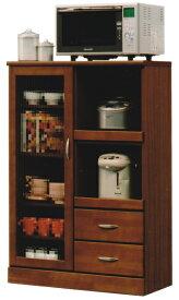 レンジ台 レンジボード 食器棚 80幅 2色対応 キッチン収納 ホワイト ブラウン ガラス扉 木製 おしゃれ シンプル 完成品 送料無料 楽天 通販