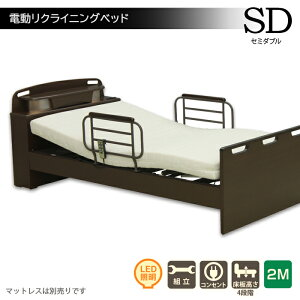 介護用ベッド 高さ調節可能 手摺り付き ツーモーター 電動リクライニングベッド 介護用ベッド 電動 高齢者 電動ベッド セミダブルベッド 宮付き コンセント 手すり付き サイドガード リモ