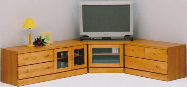テレビ台 3点セット ナチュラル コーナー 木製 AV機器収納 ガラス扉 完成品 送料無料 楽天 通販