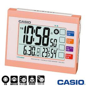 カシオ 日本気象協会共同企画 電波置き時計 210J (パステルオレンジ) 生活環境お知らせ機能(湿度計/温度計)付き ◆2013年-2014年モデル