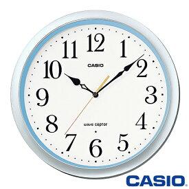 カシオ ウェーブセプター 壁掛け電波時計 480J (シルバー/ブルー) アナログ 秒針停止機能 ◆2014年-2015年モデル