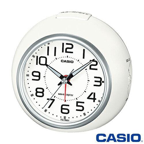 カシオ ウェーブセプター 電波置き時計 760J (ホワイト/シルバー) 秒針停止機能付き ◆2015年モデル