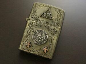 【good vibrations】【フリーメイソン/プロビデンスの目/テンプル教団コイン】 Brass/Silver925/Copper ZIPPO オイルライター(古美仕上)
