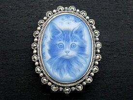 【Rokuzan×various jewelry】【舌をしまい忘れた猫の肖像画】 Silver925/メノウカメオ(青)/マルカジット アンティークデザイン/ブローチ兼ペンダントトップ