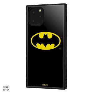 バットマン iPhone 11 Pro ハイブリッド ケース カバー KAKU 耐衝撃 衝撃吸収 [ ストラップ ホール 付き 通し穴 ] スクエア 軽量 かわいい オシャレ バットマンロゴ IQ-WP23K3TB/BM001