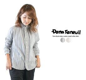 DANA FANEUIL ダナファヌル 先染ストライプワッシャースタンドカラーシャツ D-6320311【2020春夏】