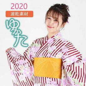 浴衣 レディース 2020新作 フリーサイズ レトロ 花柄 縞 ピンク 赤 紺 吸水速乾 ポリエステル