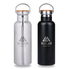 VASTLAND 水筒 ステンレスボトル マグボトル 500ml 保温 保冷 二重断熱構造 シルバー ブラック