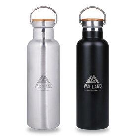 VASTLAND 水筒 ステンレスボトル マグボトル 750ml 保温 保冷 二重断熱構造 シルバー ブラック