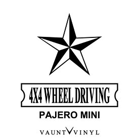 4WD PAJERO MINI パジェロミニ カッティング ステッカー パジェロミニ v9 h58a パジェロ パジェロイオ / ステッカー 車 シール デカール / 星 ノーティカルスター タトゥー / ミリタリー アウトドア 四駆 / 10P05Aug17