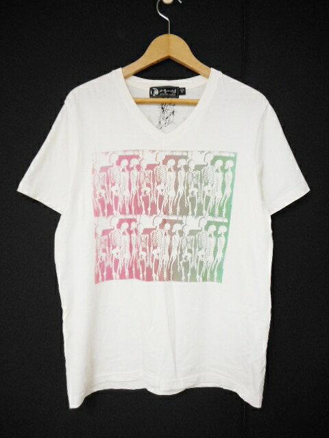 ヒステリックグラマー Andy Warhol by HYSTERIC GLAMOUR Tシャツ Vネック スカル プリント 半袖 カットソー M オフホワイト/M99 メンズ 【中古】【ベクトル 古着】 180207 ベクトル マークスラッシュ