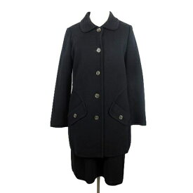 【中古】 フォクシー FOXEY ニットセットアップ スーツ ステンカラージャケット ロング丈 スカート ハーフ 42 黒 ブラック/N32 レディース 【ベクトル 古着】 190501