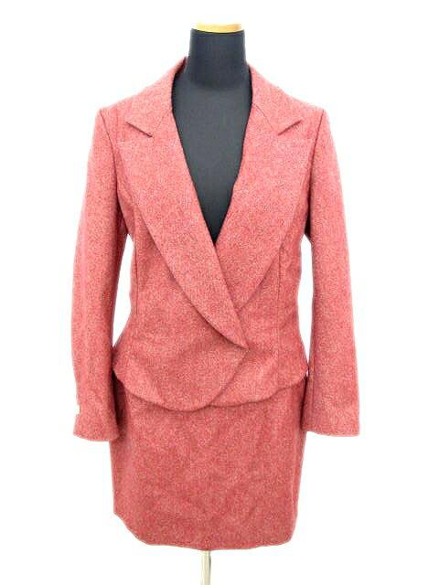 イヴサンローラン YVES SAINT LAURENT EDITION 24 YSL スーツ セットアップ ジャケット スカート ウール 赤系 レディース♪3 レディース 【中古】【ベクトル 古着】 180312 ベクトル マークスラッシュ