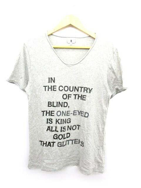 タケオキクチ TAKEO KIKUCHI Tシャツ カットソー 半袖 Vネック 3 グレー メンズ/E122 メンズ 【中古】【ベクトル 古着】 180520 ベクトル マークスラッシュ