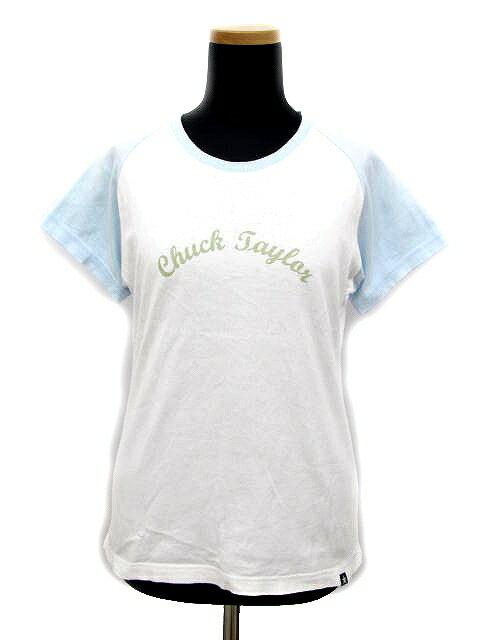 コンバース CONVERSE プリント Tシャツ カットソー M ロゴ ラグラン 白 水色 レディース/E147 レディース 【中古】【ベクトル 古着】 180618 ベクトル マークスラッシュ