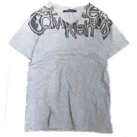 【中古】カルバンクラインジーンズ Calvin Klein Jeans プリント Tシャツ カットソー Vネック 半袖 グレー L メンズ/13※ 【ベクトル 古着】 191130 ベクトル マークスラッシュ