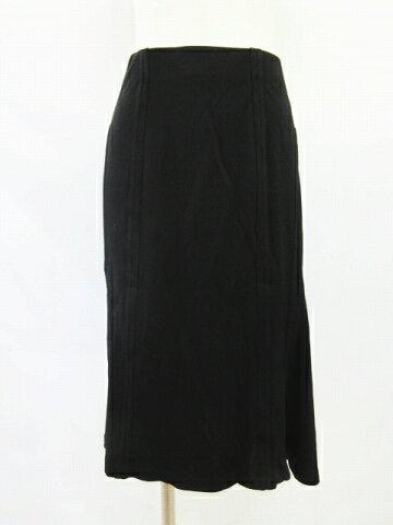 イヴサンローラン YVES SAINT LAURENT レーヨン ギャザー スカート ひざ丈 サイズM 黒 ブラック △2 レディース 【中古】【ベクトル 古着】 180228 ベクトル マークスラッシュ