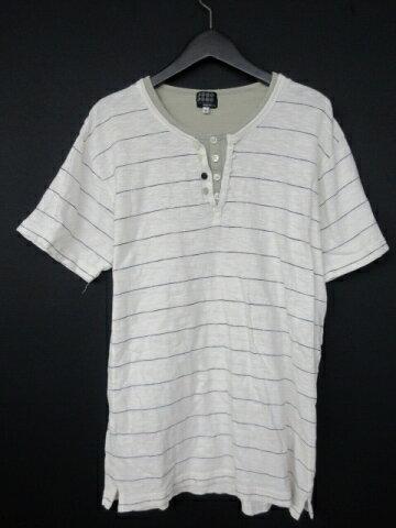 タケオキクチ TAKEO KIKUCHI Tシャツ 半袖 ボーダー ヘンリーネック コットン 3 白 ホワイト/40 メンズ 【中古】【ベクトル 古着】 180324 ベクトル マークスラッシュ