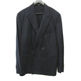 【中古】 エルメス HERMES スーツ セットアップ カシミヤ混 ダブルボタン super130s ストライプ柄 ネイビー サイズ54 メンズ 【ベクトル 古着】 190607