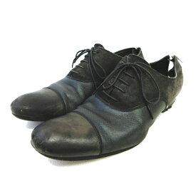 【中古】ルイヴィトン LOUIS VUITTON ビジネスシューズ ストレートチップ 革靴 タイガ レザー スエード 切替 サイズ6.5 グレー系 メンズ 【ベクトル 古着】 190913 ベクトル マークスラッシュ