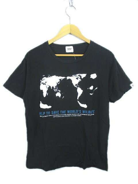 タケオキクチ TAKEO KIKUCHI 地図 プリント 半袖 Tシャツ カットソー 4 黒 白 メンズ/r5 メンズ 【中古】【ベクトル 古着】 180604 ベクトル マークスラッシュ