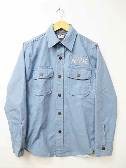 ハリウッドランチマーケット HOLLYWOOD RANCH MARKET ロゴ刺繍 長袖シャツ 1青ブルー ブランド古着ベクトル 中古●180204 0012 メンズ 【中古】【ベクトル 古着】 180204 プリマベーラ