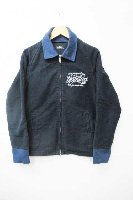 サブサエティ SUBCIETY ロゴ ダブル ジップ 両面刺繍ジャケット S ネイビー ブランド古着ベクトル 中古●180228 0010 メンズ