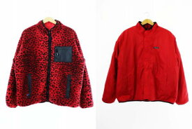 【中古】シュプリーム SUPREME 17AW Leopard Fleece Reversible Jacket レオパード フリース リバーシブル ジャケット ボア ナイロン XL 赤 レッド ブランド古着ベクトル 中古☆AA★ 200201 0180 メンズ