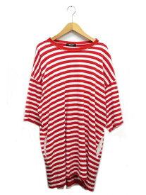 【中古】アンダーカバー UNDERCOVER 18SS ボーダー ビッグ Tシャツ 半袖 UCU4808 3 赤 白 レッド ホワイト ブランド古着ベクトル 中古 200623 0050 メンズ