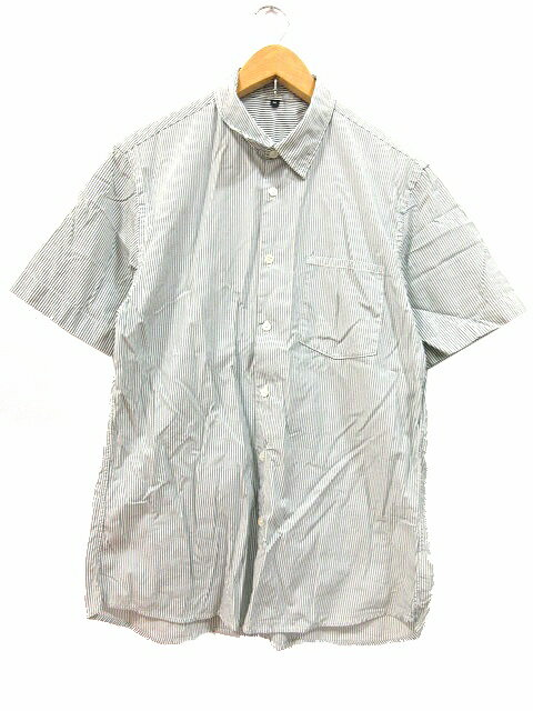 無印良品 良品計画 シャツ 半袖 ストライプ 白 緑 M メンズ 【中古】【ベクトル 古着】 180426 ブランド古着ベクトルプレミアム店