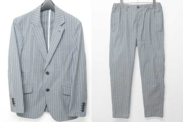 メンズビギ MEN'S BIGI スーツ セットアップ フォーマル 2B センターベント ストライプ 灰色 グレー S 0821 メンズ 【中古】【ベクトル 古着】 180821 ブランド古着ベクトルプレミアム店